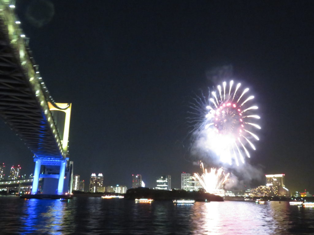 Odaiba island during a Sumida River Cruise