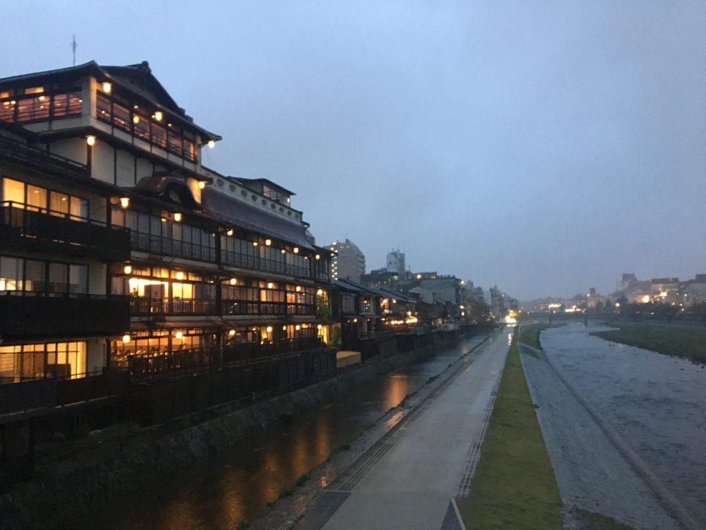 Kamogawa River is magical even in the rain
