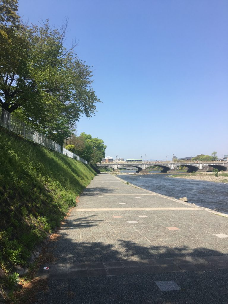 The southern end of the Kamogawa River on a sunny day
