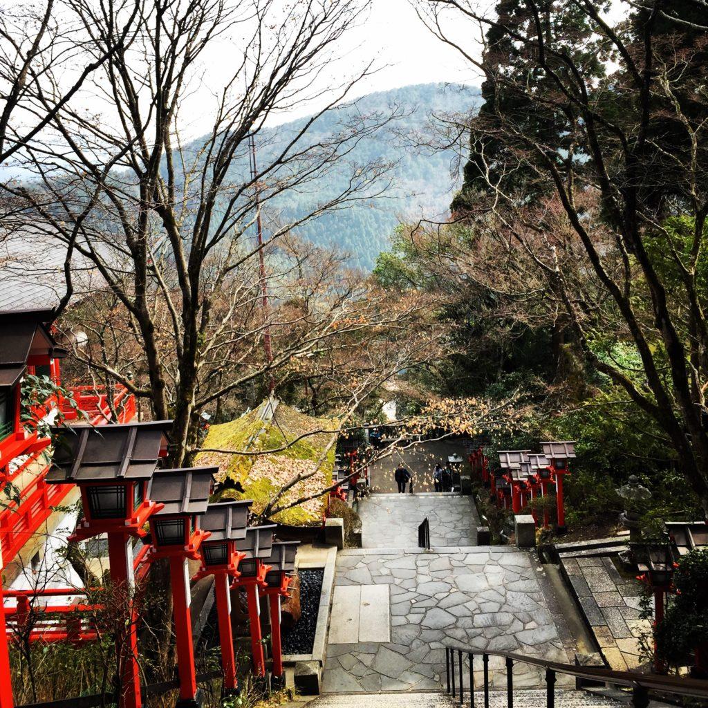 Lantern-lined stone path in Kurama