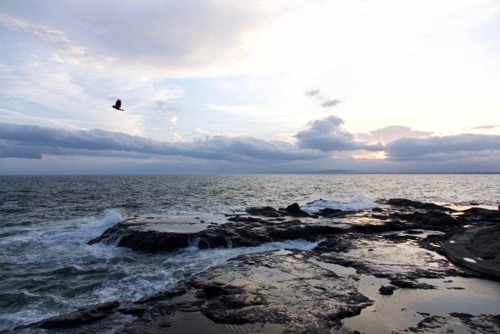 The rocky platforms along the south side of Enoshima are a great place to watch the sunset.