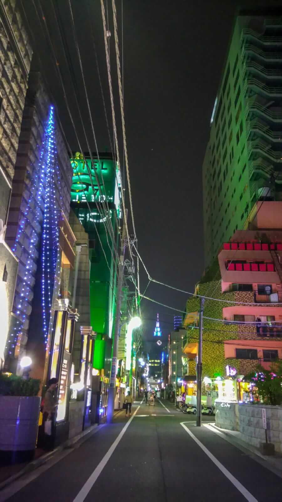 View of the The NTT Docomo Yoyogi Building at the entrance of Hotel&Spa J-MEX Shinjuku Kabukicho.