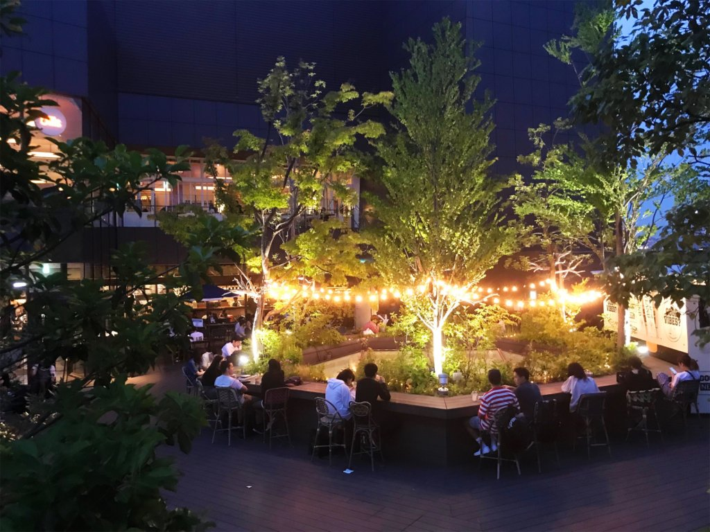 The outdoor area at night. Absolutely stunning.