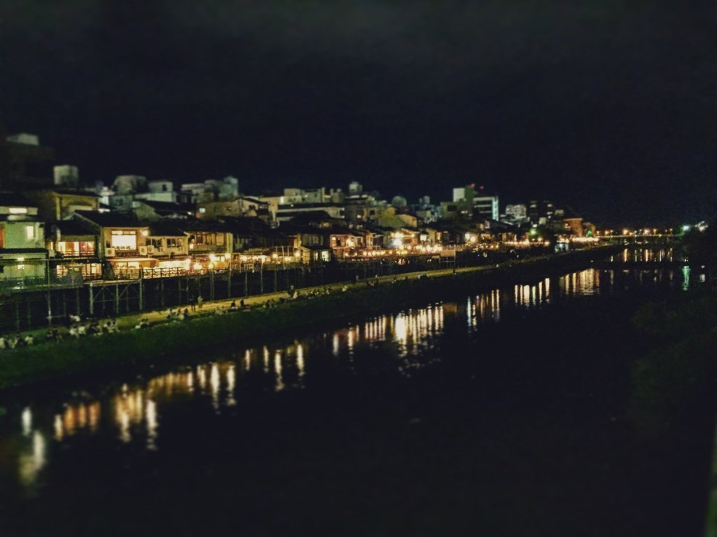 Kamo River riverside restaurants at night