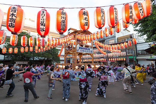 People get dressed up and gather together at Omatsuri Festival to Bon Odori Dance